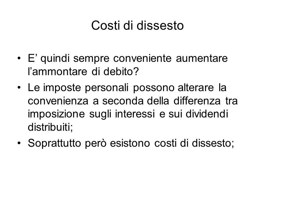 Costi di dissesto E quindi sempre conveniente aumentare lammontare di debito? Le imposte personali possono alterare la convenienza a seconda della dif