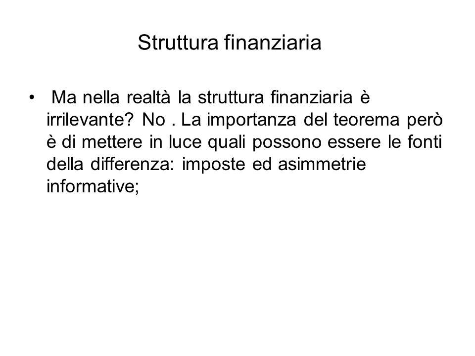 Struttura finanziaria Ma nella realtà la struttura finanziaria è irrilevante? No. La importanza del teorema però è di mettere in luce quali possono es