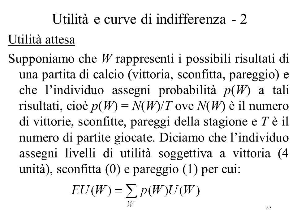 23 Utilità e curve di indifferenza - 2 Utilità attesa Supponiamo che W rappresenti i possibili risultati di una partita di calcio (vittoria, sconfitta, pareggio) e che lindividuo assegni probabilità p(W) a tali risultati, cioè p(W) = N(W)/T ove N(W) è il numero di vittorie, sconfitte, pareggi della stagione e T è il numero di partite giocate.