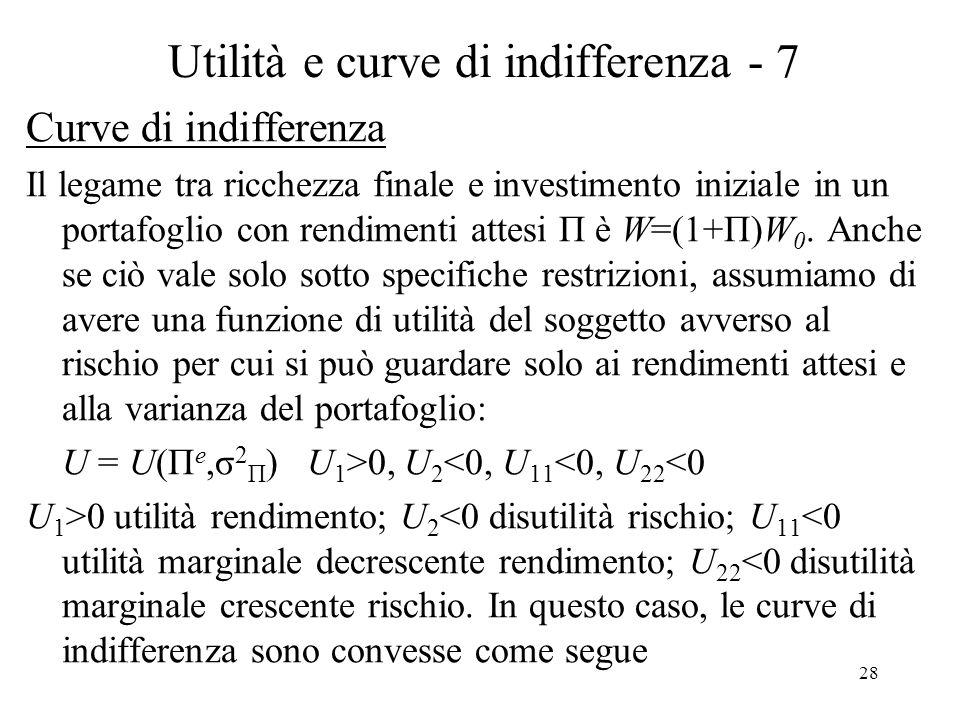 28 Utilità e curve di indifferenza - 7 Curve di indifferenza Il legame tra ricchezza finale e investimento iniziale in un portafoglio con rendimenti attesi Π è W=(1+Π)W 0.