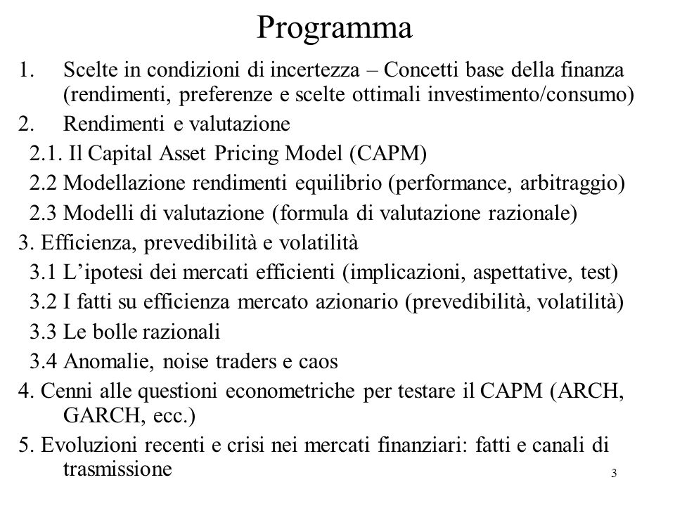 34 Investimento fisico e consumo ottimale - 2 Consideriamo un semplice modello a 2 periodi della scelta di investimento con risultati certi (privi di rischio) ed espressi in termini reali (inflazione=0).