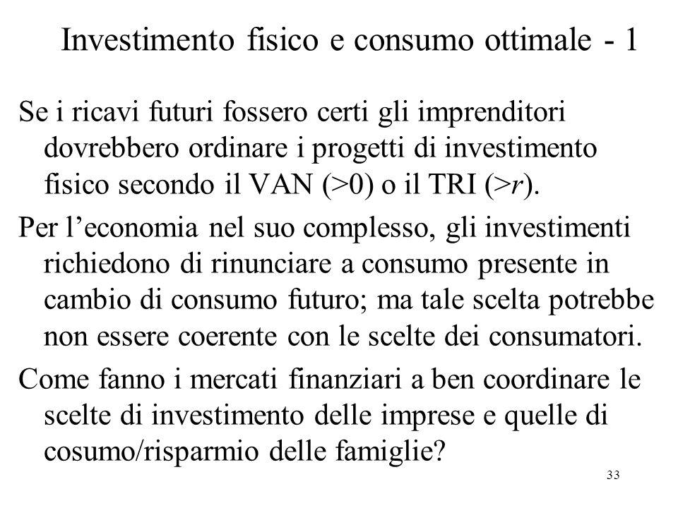 33 Investimento fisico e consumo ottimale - 1 Se i ricavi futuri fossero certi gli imprenditori dovrebbero ordinare i progetti di investimento fisico secondo il VAN (>0) o il TRI (>r).