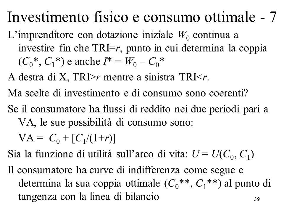 39 Investimento fisico e consumo ottimale - 7 Limprenditore con dotazione iniziale W 0 continua a investire fin che TRI=r, punto in cui determina la coppia (C 0 *, C 1 *) e anche I* = W 0 – C 0 * A destra di X, TRI>r mentre a sinistra TRI<r.