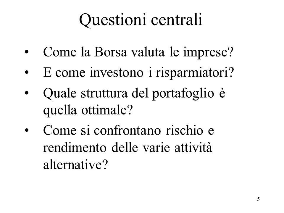 5 Questioni centrali Come la Borsa valuta le imprese.