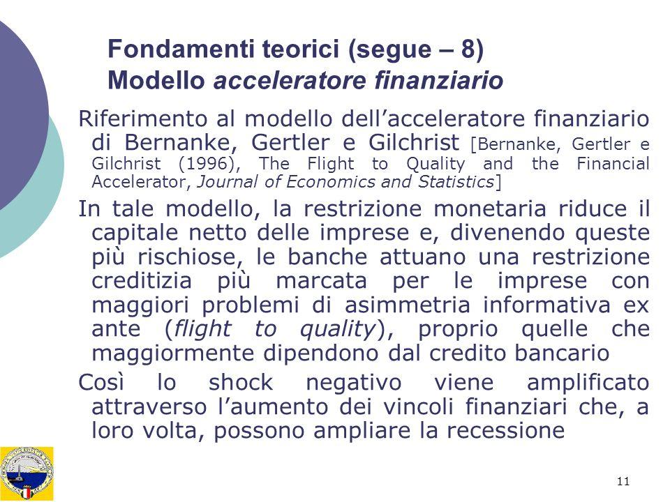 11 Fondamenti teorici (segue – 8) Modello acceleratore finanziario Riferimento al modello dellacceleratore finanziario di Bernanke, Gertler e Gilchris