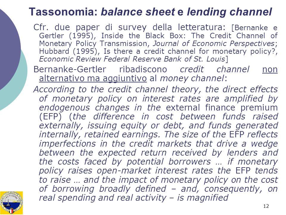 12 Tassonomia: balance sheet e lending channel Cfr. due paper di survey della letteratura: [Bernanke e Gertler (1995), Inside the Black Box: The Credi
