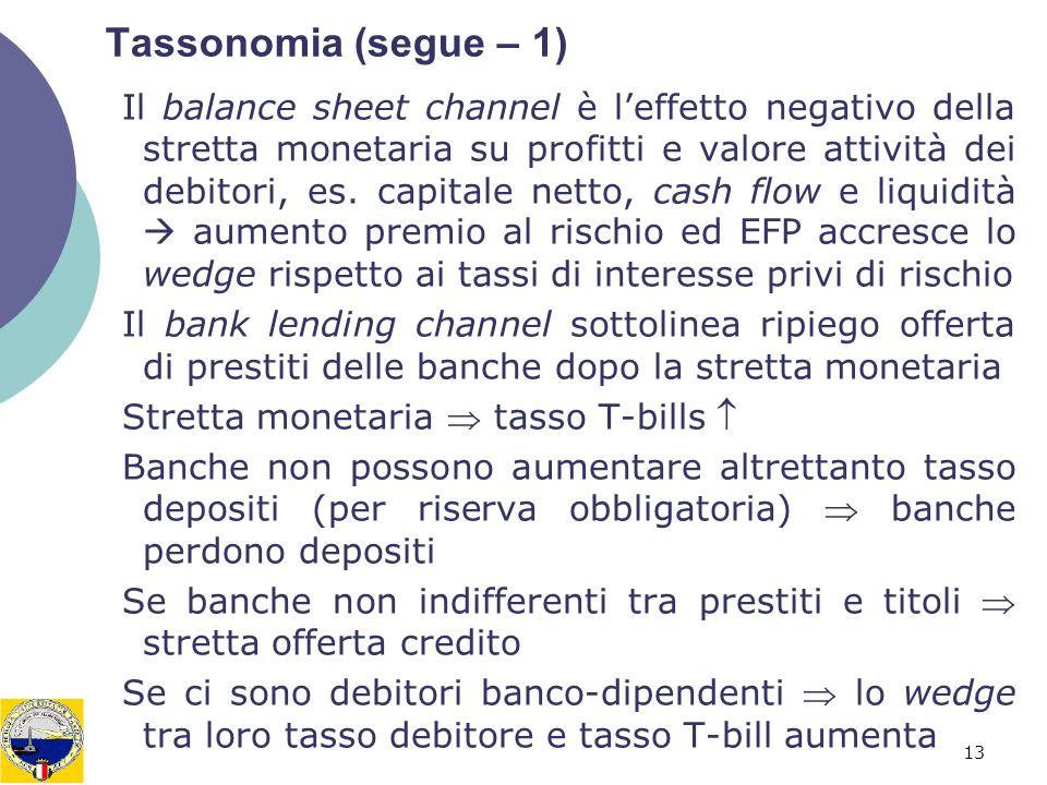 13 Tassonomia (segue – 1) Il balance sheet channel è leffetto negativo della stretta monetaria su profitti e valore attività dei debitori, es. capital