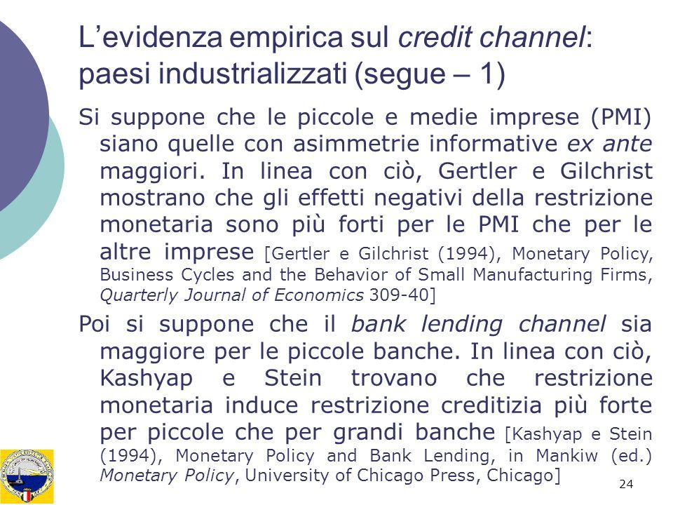 24 Levidenza empirica sul credit channel: paesi industrializzati (segue – 1) Si suppone che le piccole e medie imprese (PMI) siano quelle con asimmetr
