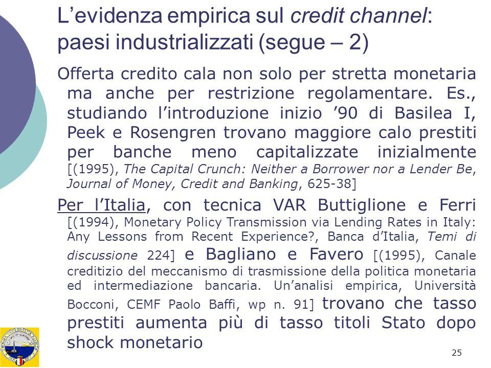 25 Levidenza empirica sul credit channel: paesi industrializzati (segue – 2) Offerta credito cala non solo per stretta monetaria ma anche per restrizione regolamentare.