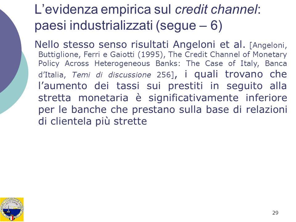 29 Levidenza empirica sul credit channel: paesi industrializzati (segue – 6) Nello stesso senso risultati Angeloni et al.