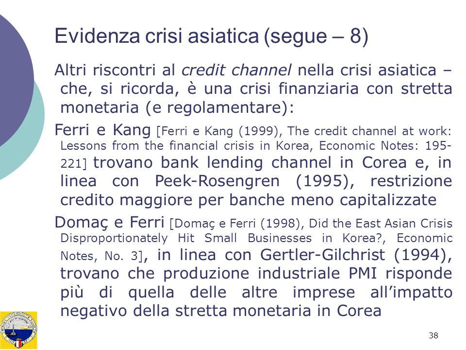 38 Evidenza crisi asiatica (segue – 8) Altri riscontri al credit channel nella crisi asiatica – che, si ricorda, è una crisi finanziaria con stretta m
