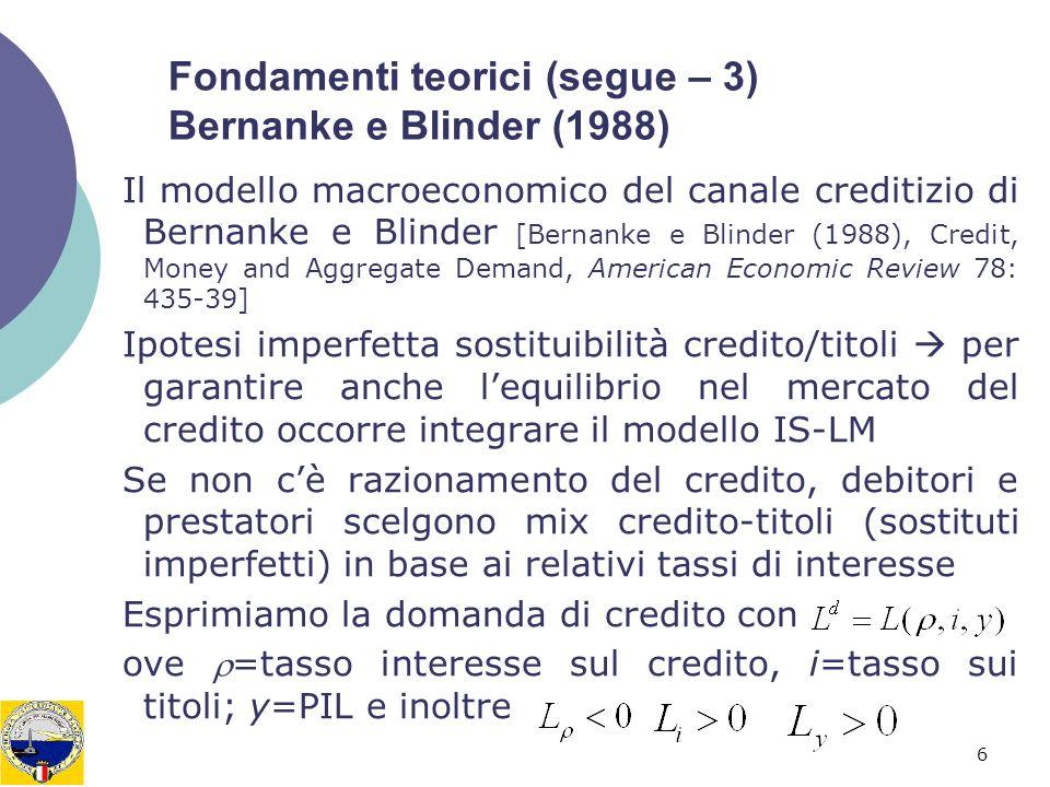 6 Fondamenti teorici (segue – 3) Bernanke e Blinder (1988) Il modello macroeconomico del canale creditizio di Bernanke e Blinder [Bernanke e Blinder (1988), Credit, Money and Aggregate Demand, American Economic Review 78: 435-39] Ipotesi imperfetta sostituibilità credito/titoli per garantire anche lequilibrio nel mercato del credito occorre integrare il modello IS-LM Se non cè razionamento del credito, debitori e prestatori scelgono mix credito-titoli (sostituti imperfetti) in base ai relativi tassi di interesse Esprimiamo la domanda di credito con ove =tasso interesse sul credito, i=tasso sui titoli; y=PIL e inoltre