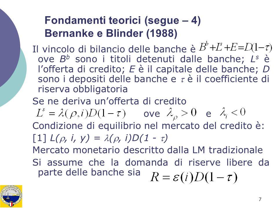 8 Fondamenti teorici (segue – 5) Bernanke e Blinder (1988) Offerta depositi e –ignorando il circolante– di M è dato da riserve R per moltiplicatore monetario mentre la domanda di depositi sarà funzione di y e di i.