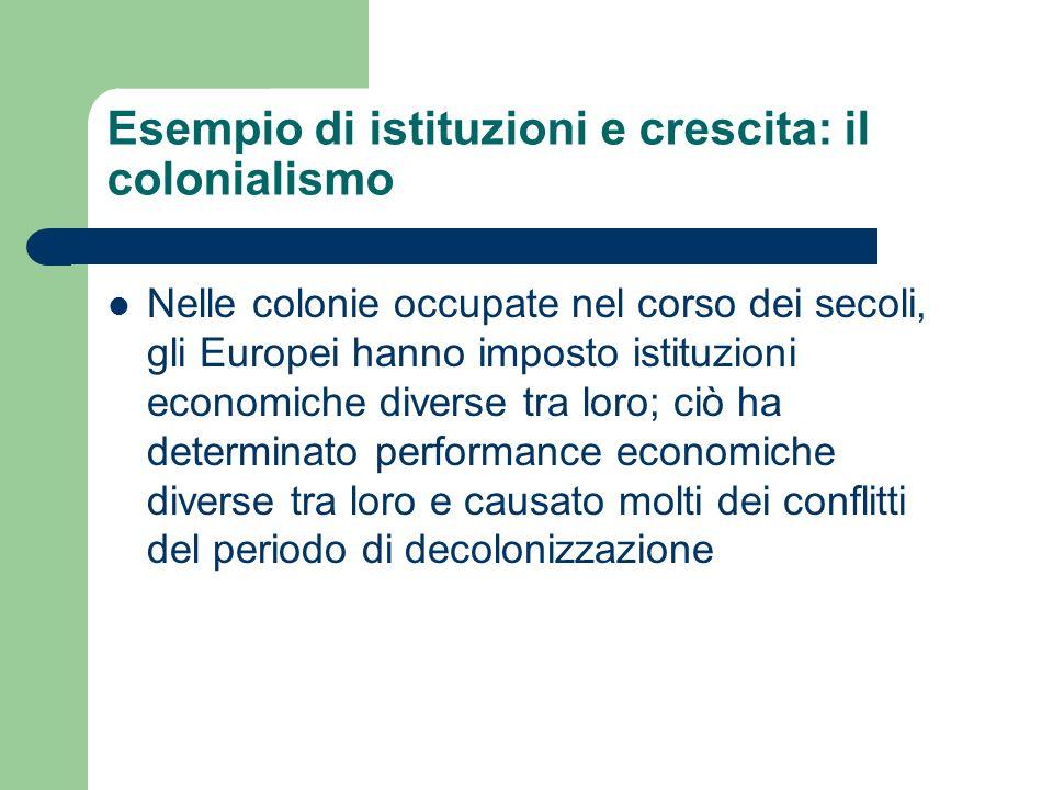 Esempio di istituzioni e crescita: il colonialismo Nelle colonie occupate nel corso dei secoli, gli Europei hanno imposto istituzioni economiche diver