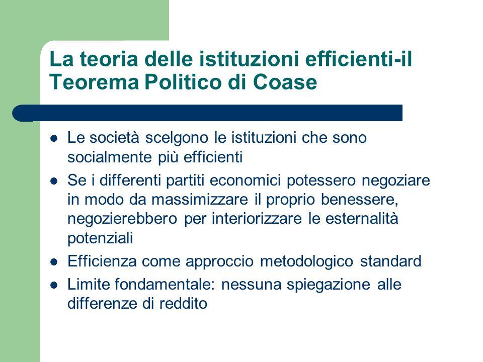 La teoria delle istituzioni efficienti-il Teorema Politico di Coase Le società scelgono le istituzioni che sono socialmente più efficienti Se i differ