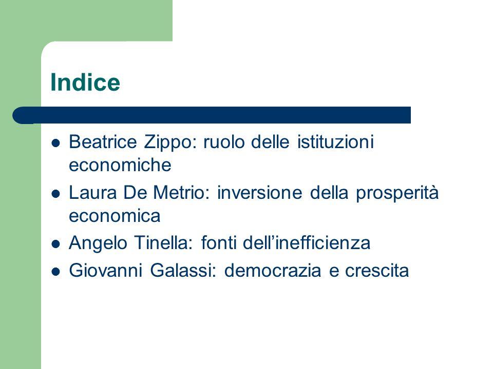 Indice Beatrice Zippo: ruolo delle istituzioni economiche Laura De Metrio: inversione della prosperità economica Angelo Tinella: fonti dellinefficienz