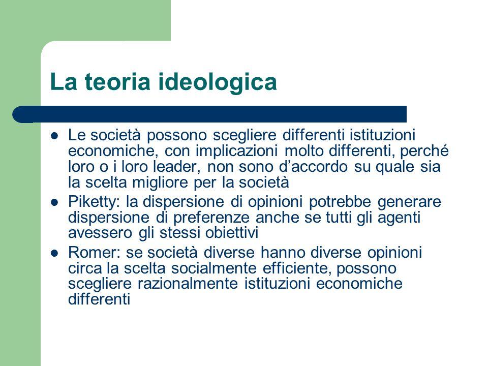 La teoria ideologica Le società possono scegliere differenti istituzioni economiche, con implicazioni molto differenti, perché loro o i loro leader, n