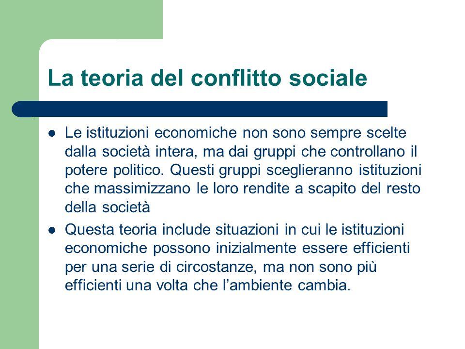 La teoria del conflitto sociale Le istituzioni economiche non sono sempre scelte dalla società intera, ma dai gruppi che controllano il potere politic