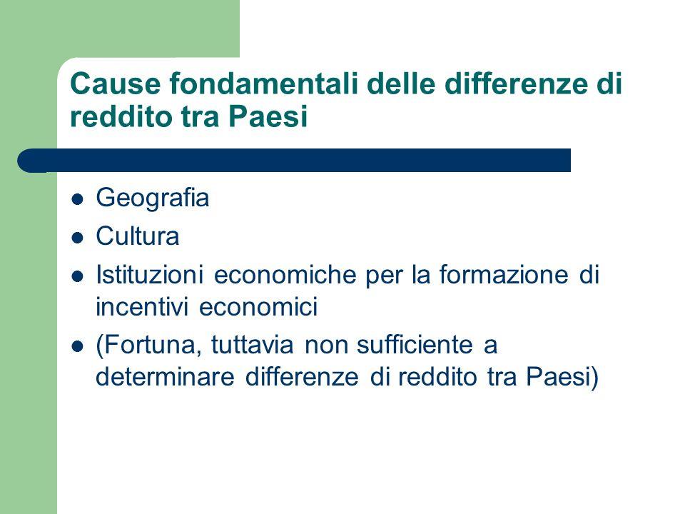 Cause fondamentali delle differenze di reddito tra Paesi Geografia Cultura Istituzioni economiche per la formazione di incentivi economici (Fortuna, t