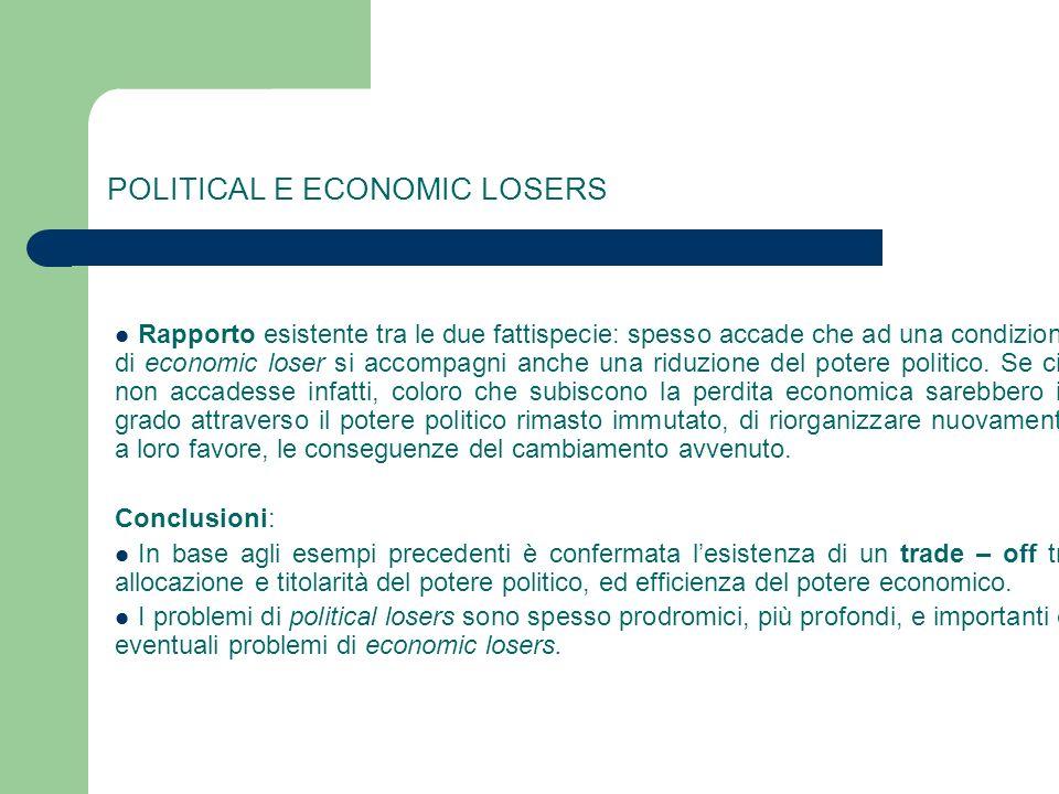 POLITICAL E ECONOMIC LOSERS Rapporto esistente tra le due fattispecie: spesso accade che ad una condizione di economic loser si accompagni anche una r