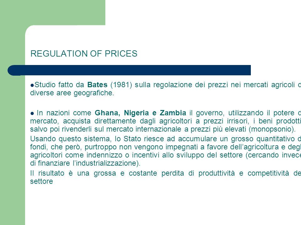 REGULATION OF PRICES Studio fatto da Bates (1981) sulla regolazione dei prezzi nei mercati agricoli di diverse aree geografiche. In nazioni come Ghana