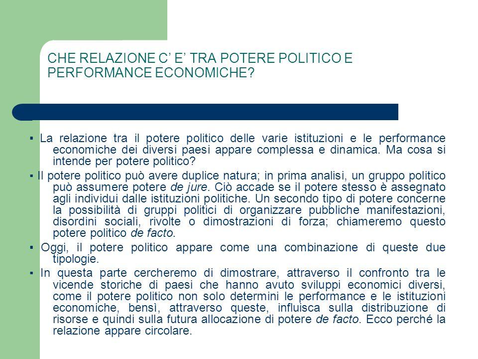 CHE RELAZIONE C E TRA POTERE POLITICO E PERFORMANCE ECONOMICHE? La relazione tra il potere politico delle varie istituzioni e le performance economich