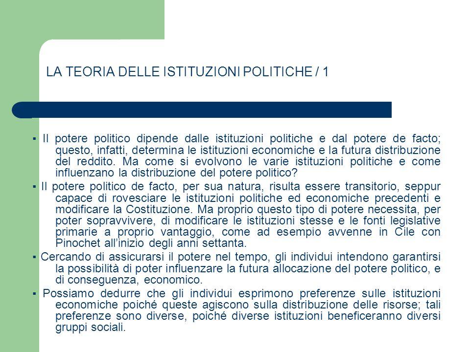 LA TEORIA DELLE ISTITUZIONI POLITICHE / 1 Il potere politico dipende dalle istituzioni politiche e dal potere de facto; questo, infatti, determina le
