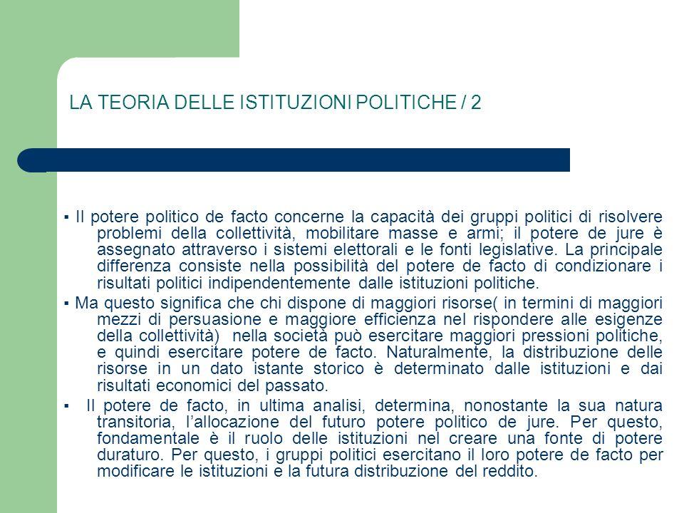 LA TEORIA DELLE ISTITUZIONI POLITICHE / 2 Il potere politico de facto concerne la capacità dei gruppi politici di risolvere problemi della collettivit