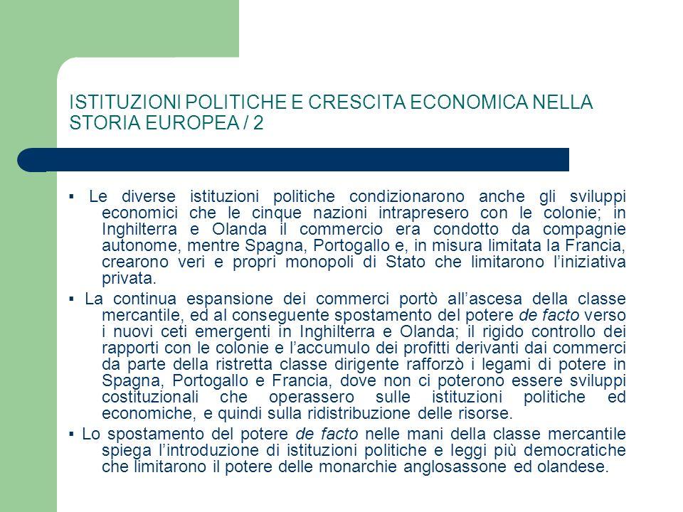 ISTITUZIONI POLITICHE E CRESCITA ECONOMICA NELLA STORIA EUROPEA / 2 Le diverse istituzioni politiche condizionarono anche gli sviluppi economici che l