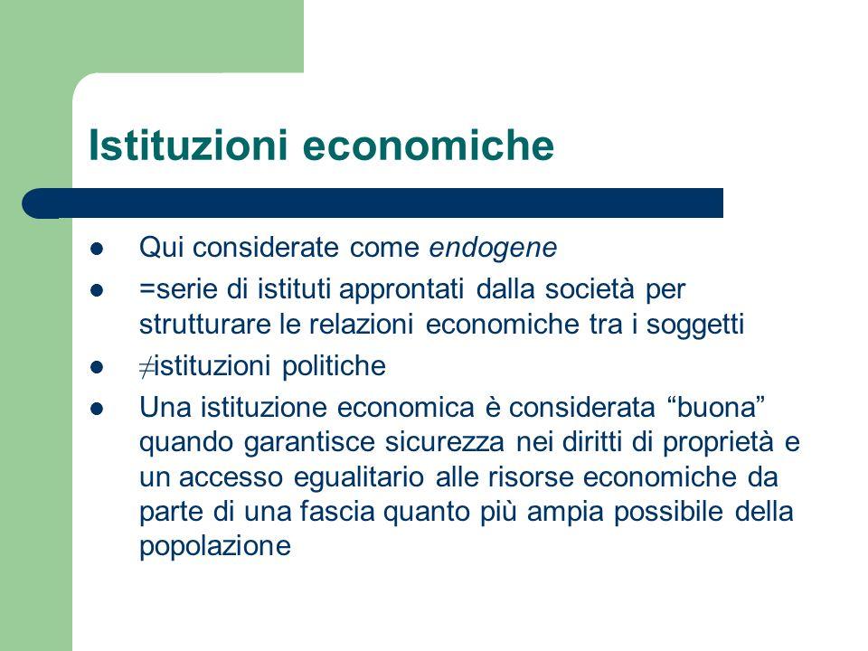 Istituzioni economiche Qui considerate come endogene =serie di istituti approntati dalla società per strutturare le relazioni economiche tra i soggett
