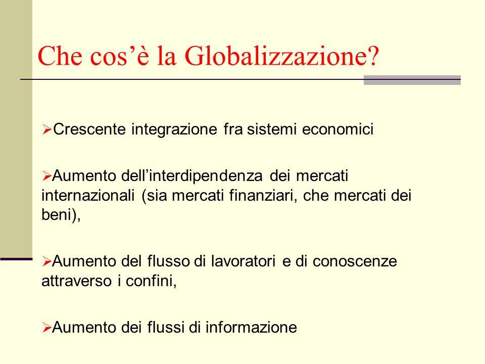 Che cosè la Globalizzazione? Crescente integrazione fra sistemi economici Aumento dellinterdipendenza dei mercati internazionali (sia mercati finanzia