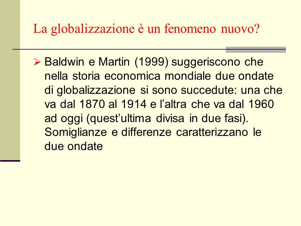 La globalizzazione è un fenomeno nuovo? Baldwin e Martin (1999) suggeriscono che nella storia economica mondiale due ondate di globalizzazione si sono