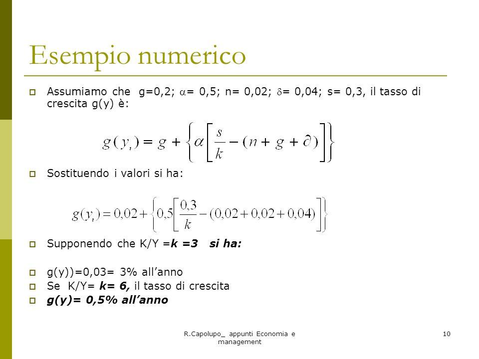 R.Capolupo_ appunti Economia e management 10 Esempio numerico Assumiamo che g=0,2; = 0,5; n= 0,02; = 0,04; s= 0,3, il tasso di crescita g(y) è: Sostit