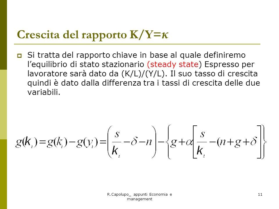 R.Capolupo_ appunti Economia e management 11 Crescita del rapporto K/Y= κ Si tratta del rapporto chiave in base al quale definiremo lequilibrio di sta