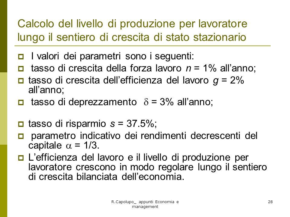 R.Capolupo_ appunti Economia e management 28 Calcolo del livello di produzione per lavoratore lungo il sentiero di crescita di stato stazionario I val
