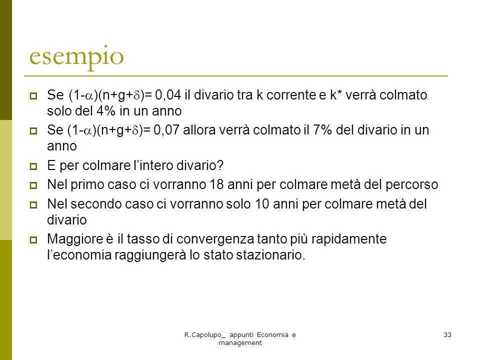 R.Capolupo_ appunti Economia e management 33 esempio Se (1- )(n+g+ )= 0,04 il divario tra k corrente e k* verrà colmato solo del 4% in un anno Se (1-