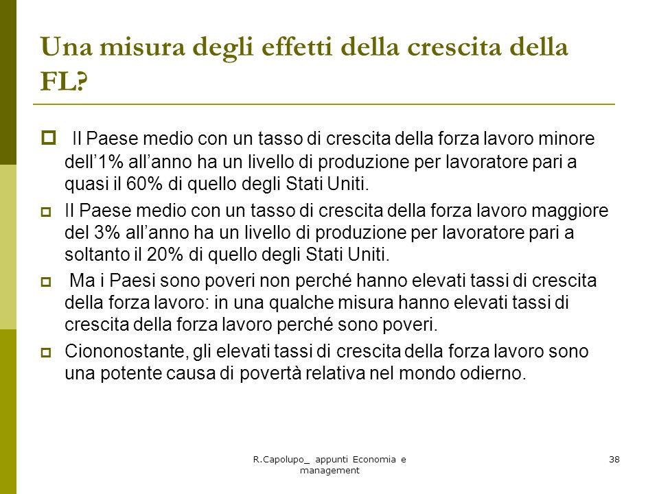 R.Capolupo_ appunti Economia e management 38 Una misura degli effetti della crescita della FL? Il Paese medio con un tasso di crescita della forza lav