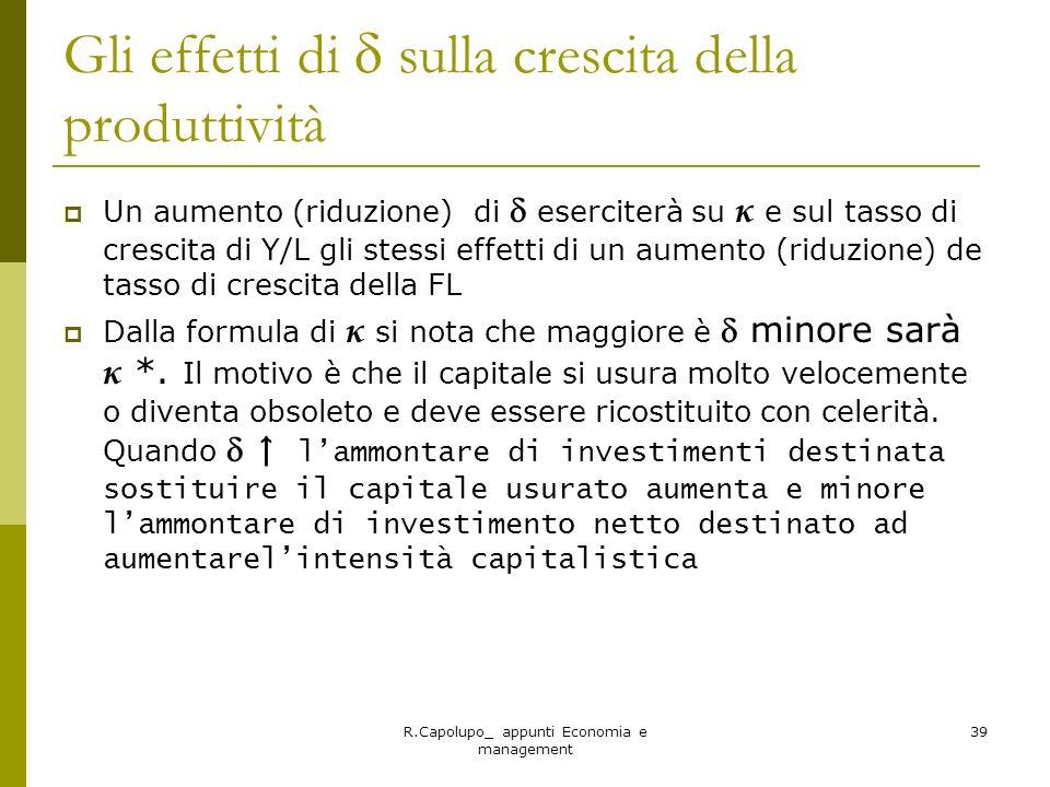 R.Capolupo_ appunti Economia e management 39 Gli effetti di sulla crescita della produttività Un aumento (riduzione) di eserciterà su κ e sul tasso di