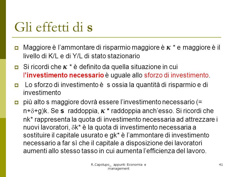 R.Capolupo_ appunti Economia e management 41 Gli effetti di s Maggiore è lammontare di risparmio maggiore è κ * e maggiore è il livello di K/L e di Y/