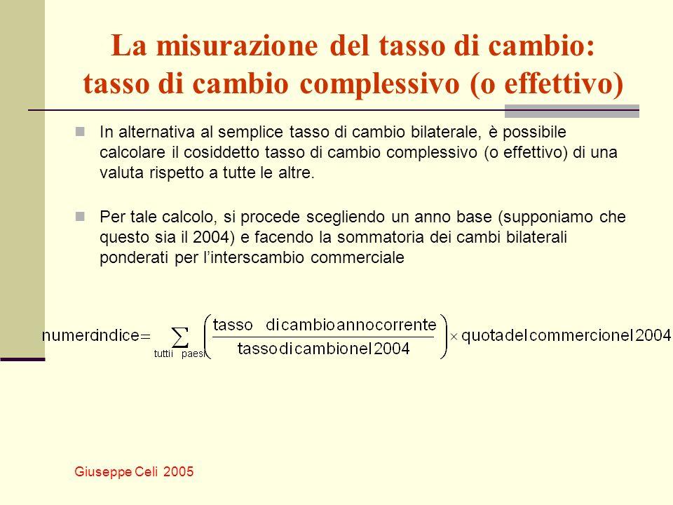 Giuseppe Celi 2005 La misurazione del tasso di cambio: tasso di cambio complessivo (o effettivo) In alternativa al semplice tasso di cambio bilaterale