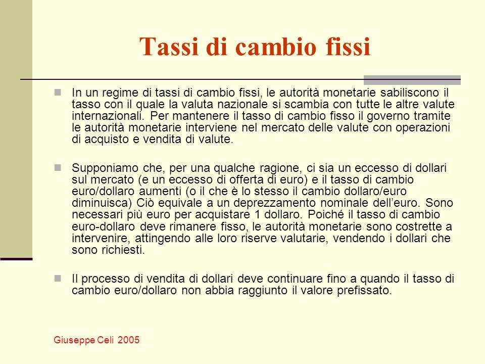 Giuseppe Celi 2005 Tassi di cambio fissi In un regime di tassi di cambio fissi, le autorità monetarie sabiliscono il tasso con il quale la valuta nazi