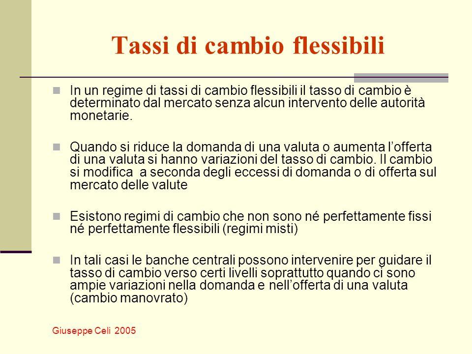 Giuseppe Celi 2005 Tassi di cambio flessibili In un regime di tassi di cambio flessibili il tasso di cambio è determinato dal mercato senza alcun inte