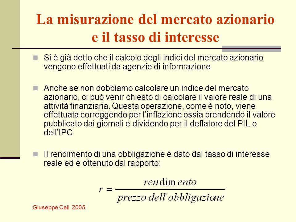 Giuseppe Celi 2005 La misurazione del mercato azionario e il tasso di interesse Si è già detto che il calcolo degli indici del mercato azionario vengo
