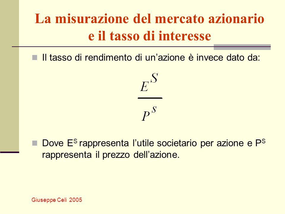 Giuseppe Celi 2005 La misurazione del mercato azionario e il tasso di interesse Il tasso di rendimento di unazione è invece dato da: Dove E S rapprese