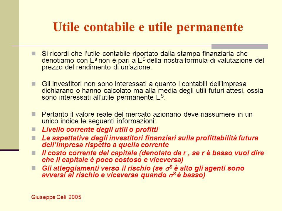 Giuseppe Celi 2005 Utile contabile e utile permanente Si ricordi che lutile contabile riportato dalla stampa finanziaria che denotiamo con E a non è p