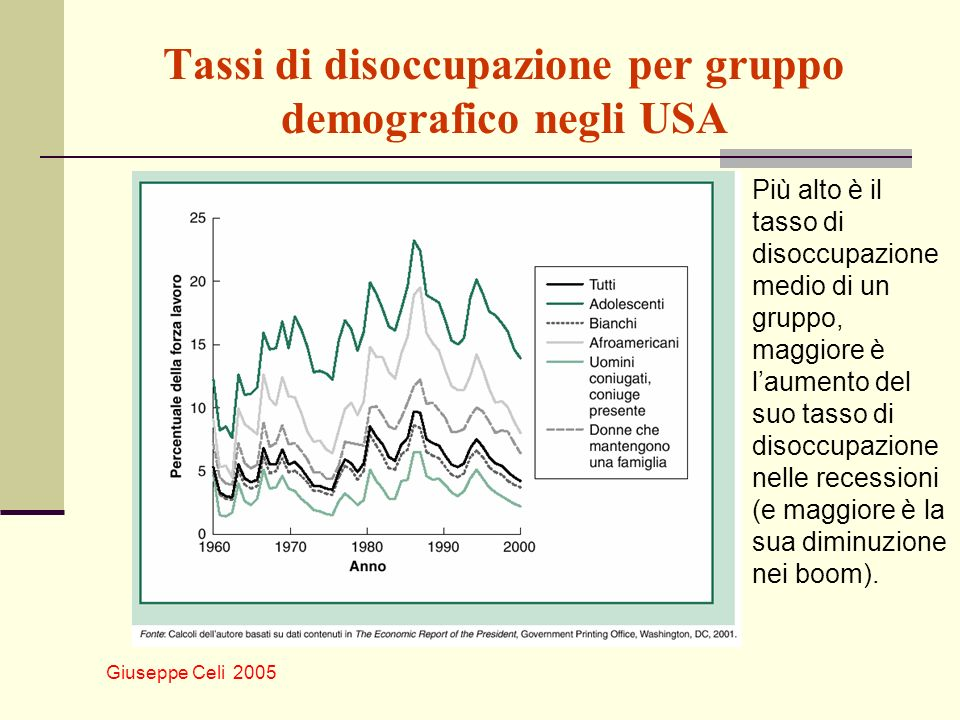 Giuseppe Celi 2005 Tassi di disoccupazione per gruppo demografico negli USA Più alto è il tasso di disoccupazione medio di un gruppo, maggiore è laume