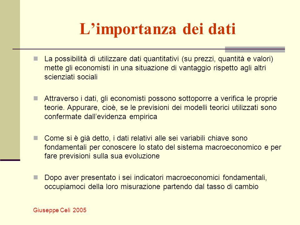 Giuseppe Celi 2005 Limportanza dei dati La possibilità di utilizzare dati quantitativi (su prezzi, quantità e valori) mette gli economisti in una situ