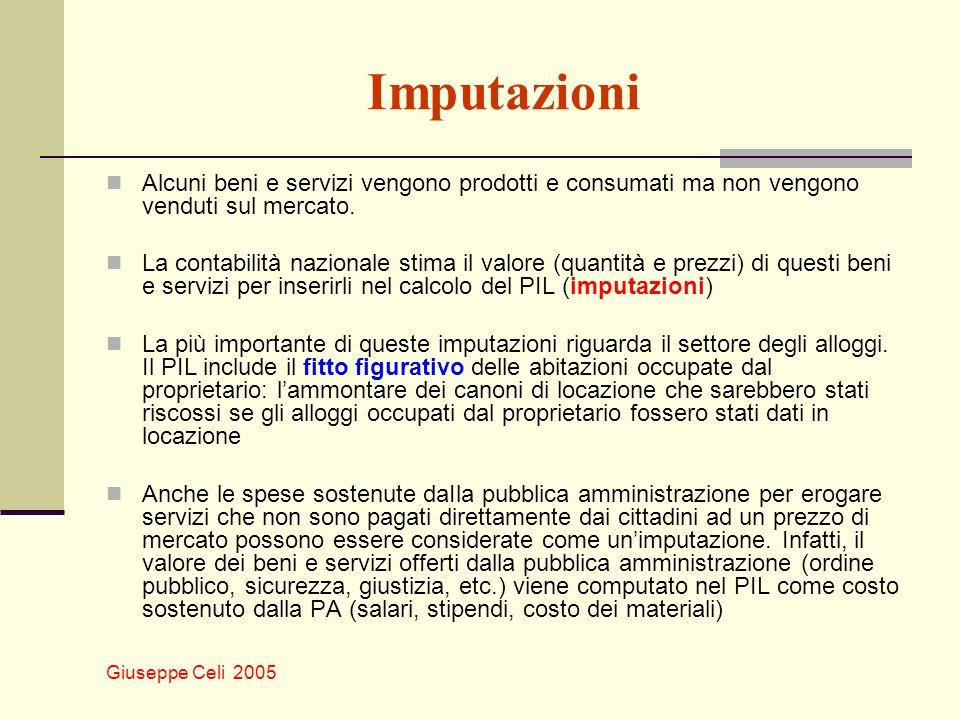 Giuseppe Celi 2005 Imputazioni Alcuni beni e servizi vengono prodotti e consumati ma non vengono venduti sul mercato. La contabilità nazionale stima i