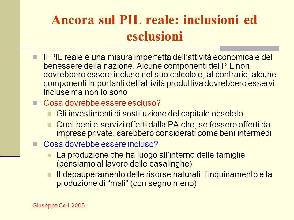 Giuseppe Celi 2005 Ancora sul PIL reale: inclusioni ed esclusioni Il PIL reale è una misura imperfetta dellattività economica e del benessere della na