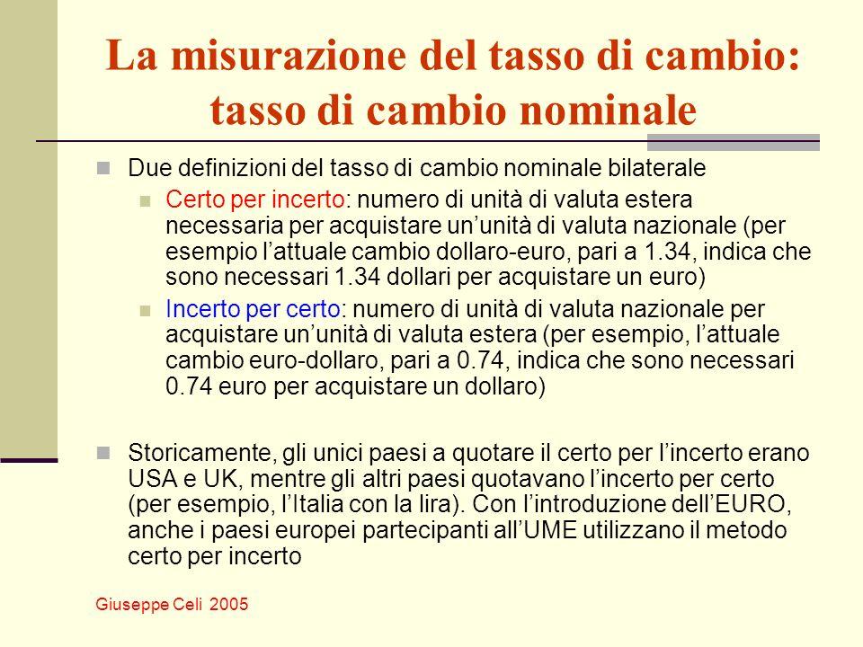 Giuseppe Celi 2005 La misurazione del tasso di cambio: tasso di cambio nominale Due definizioni del tasso di cambio nominale bilaterale Certo per ince
